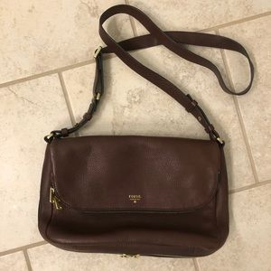 Fossil brand crossbody leather tote